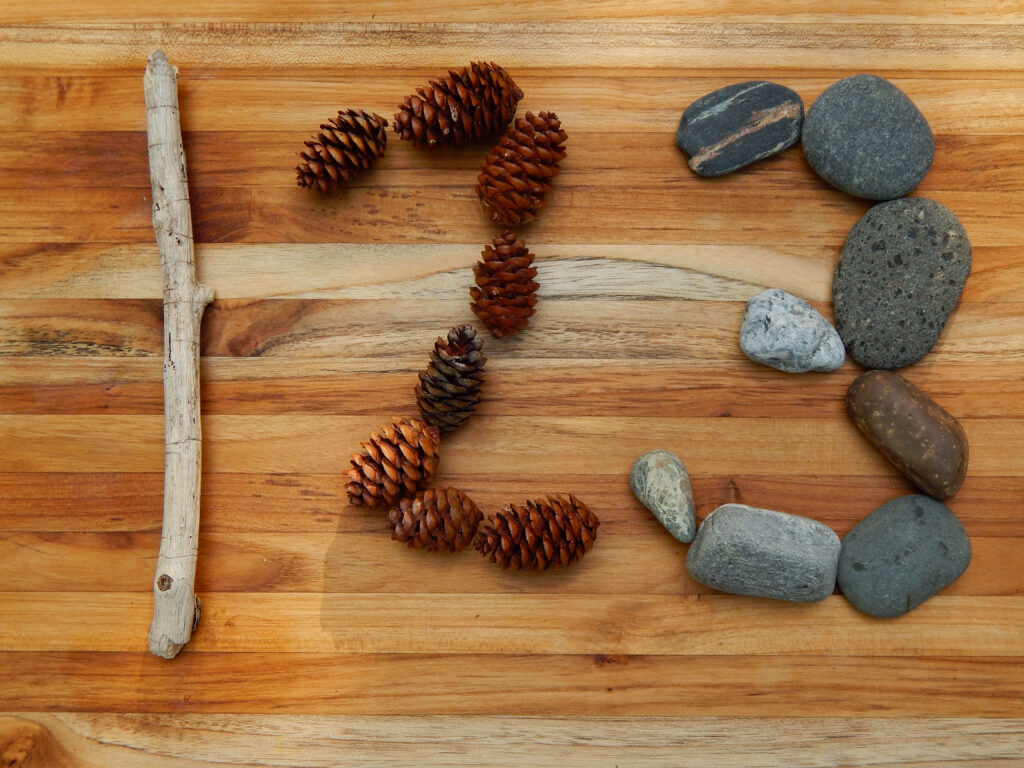 the numbers one, two, and three created using natural elements driftwood pine cones and beach rocks on a wooden board