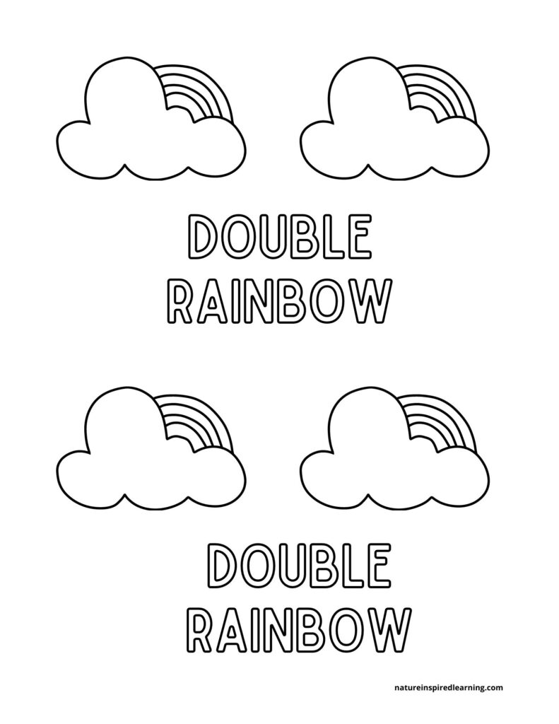 2 double rainbows with clouds text coloring page