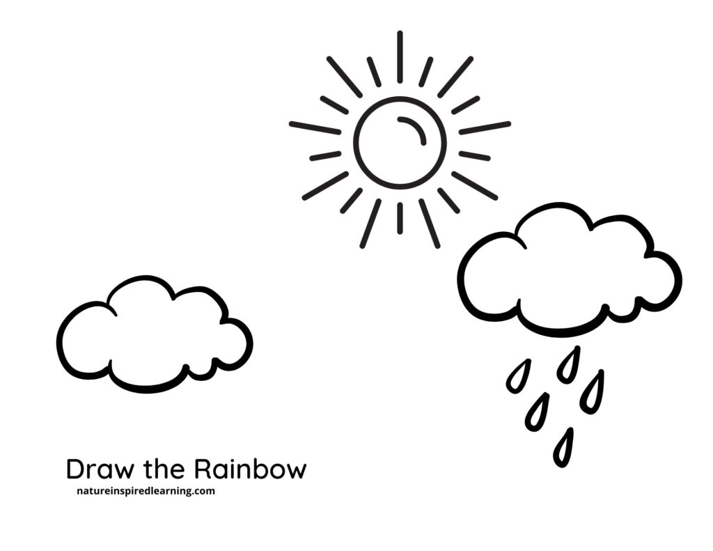 two clouds one with rain droplets with sun draw your own rainbow coloring page