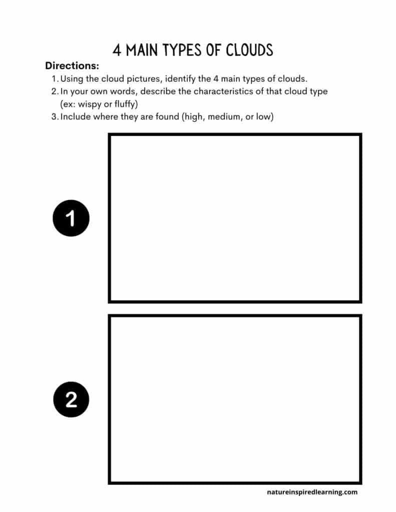 4 main types of clouds worksheet pg 1