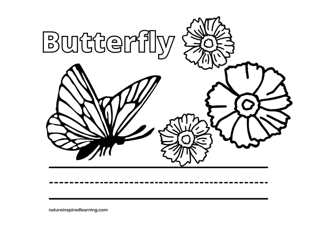 Butterfly word with image and flowers coloring sheet