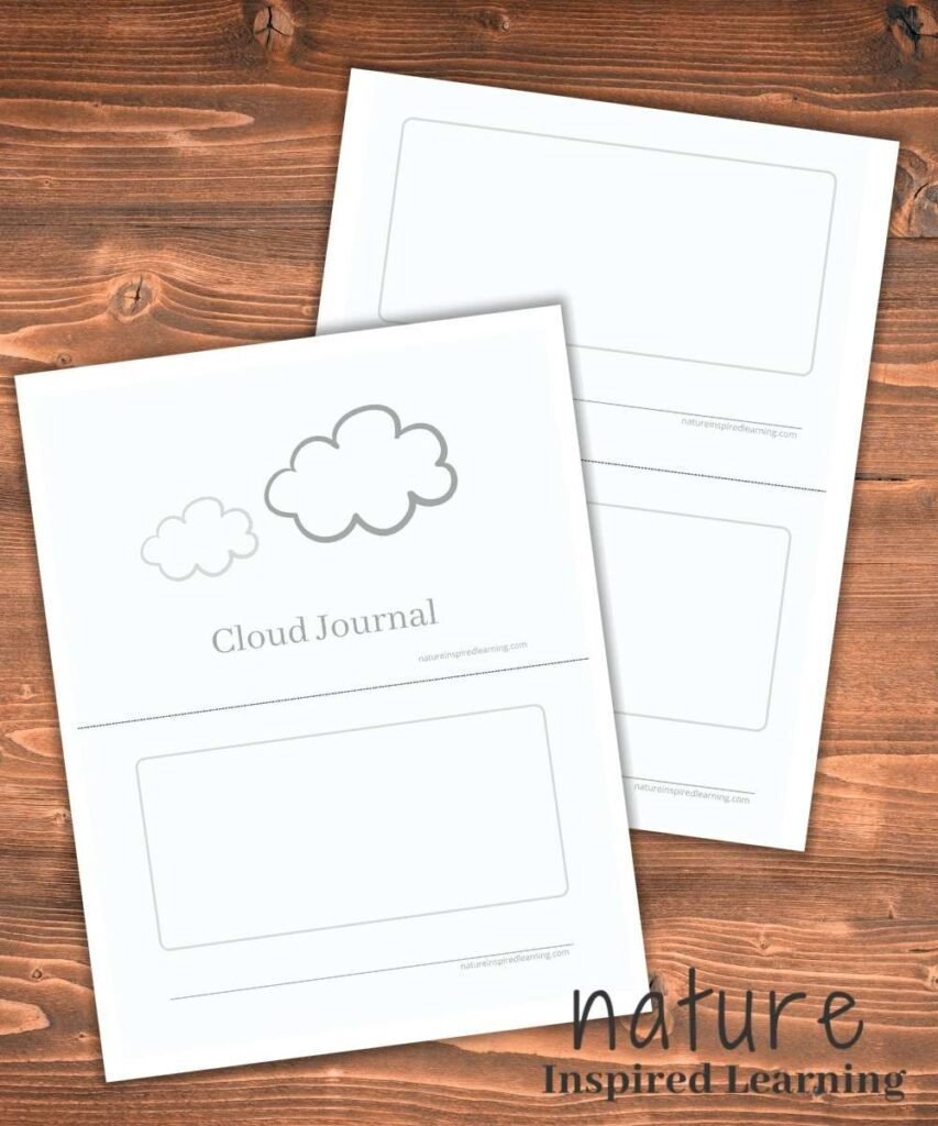 blank cloud journal cover with page one printable with additional pages printable over lapping on wooden background text nature inspired learning
