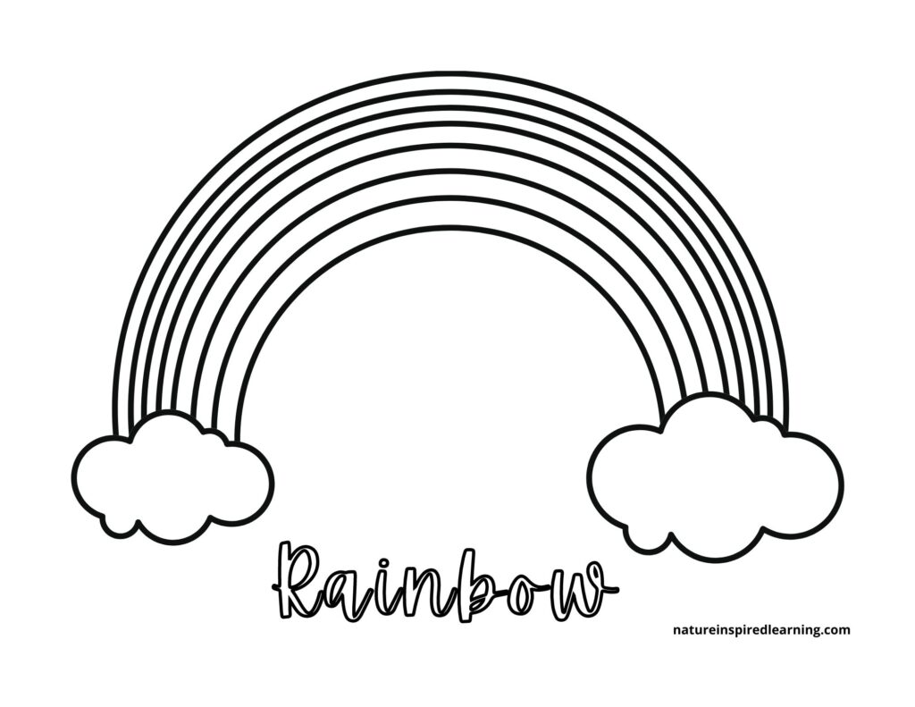 cursive rainbow coloring page 7 layers with clouds