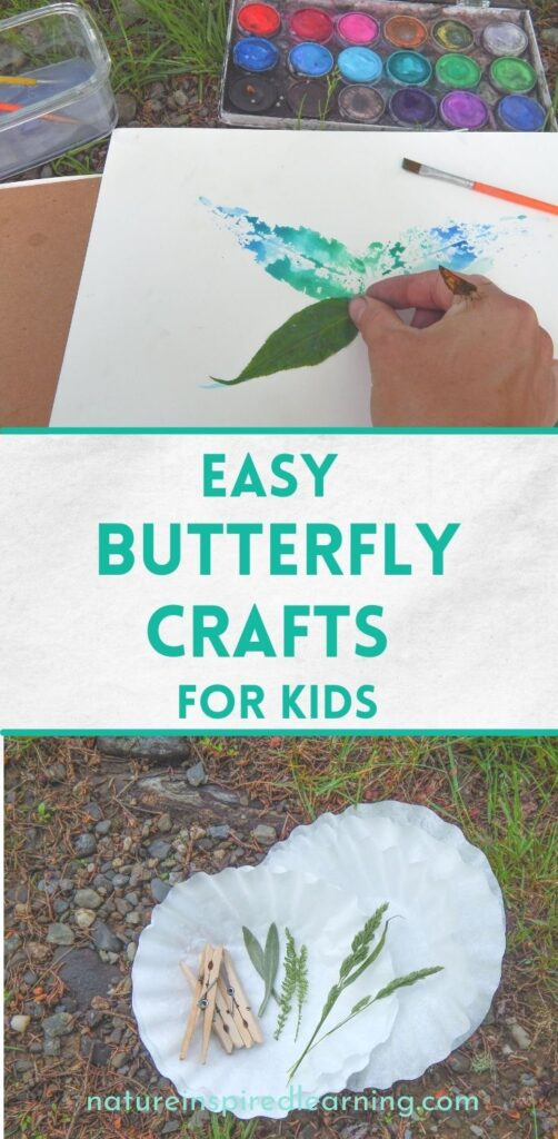 leaf printing craft and coffee filter butterfly supplies with the text easy butterfly crafts for kids