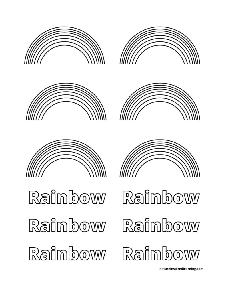 6 small rainbows with word printable