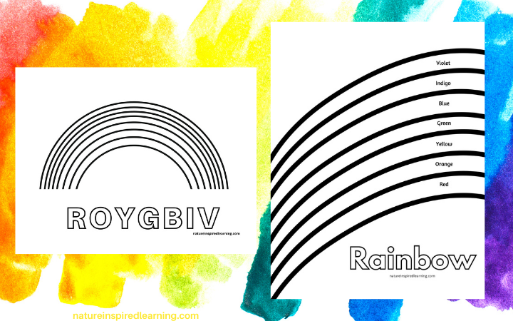 painted background with 2 7 layer rainbow coloring pages ROY G BIV