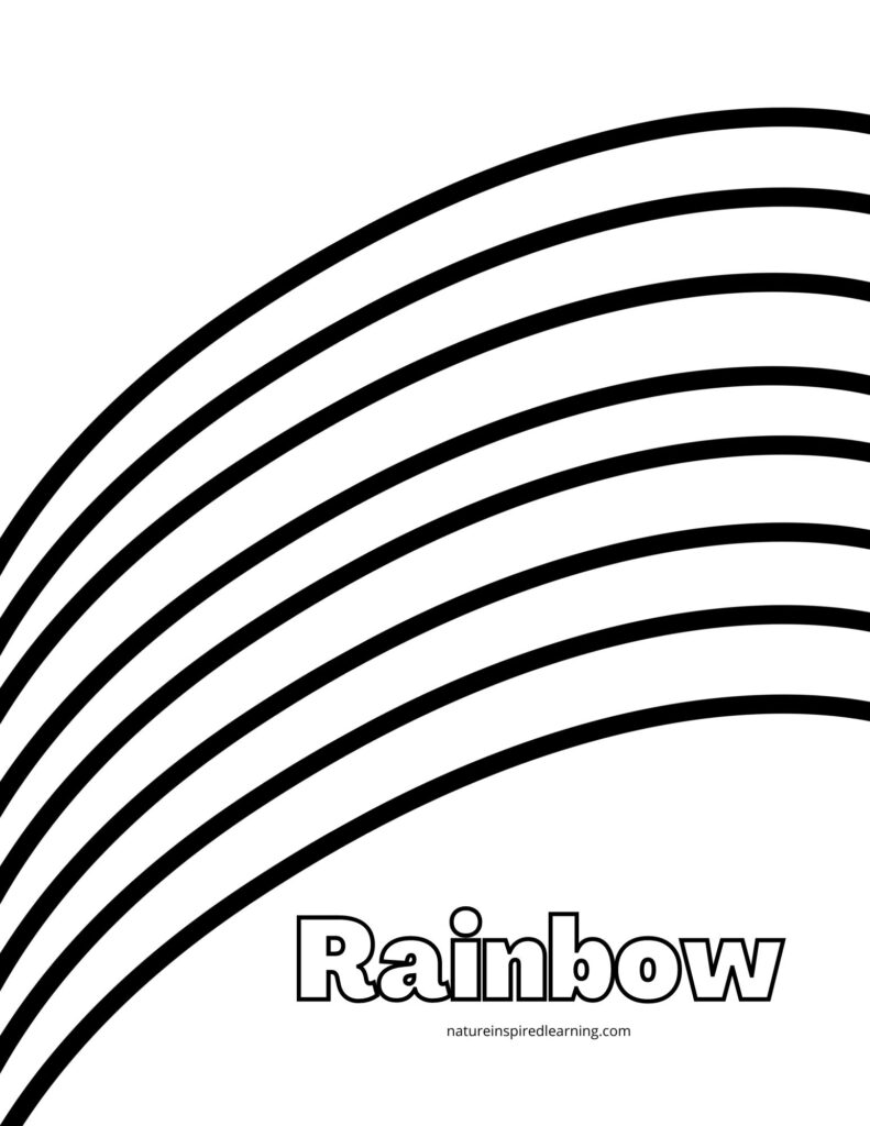 large rainbow bands with bubble text rainbow coloring sheet