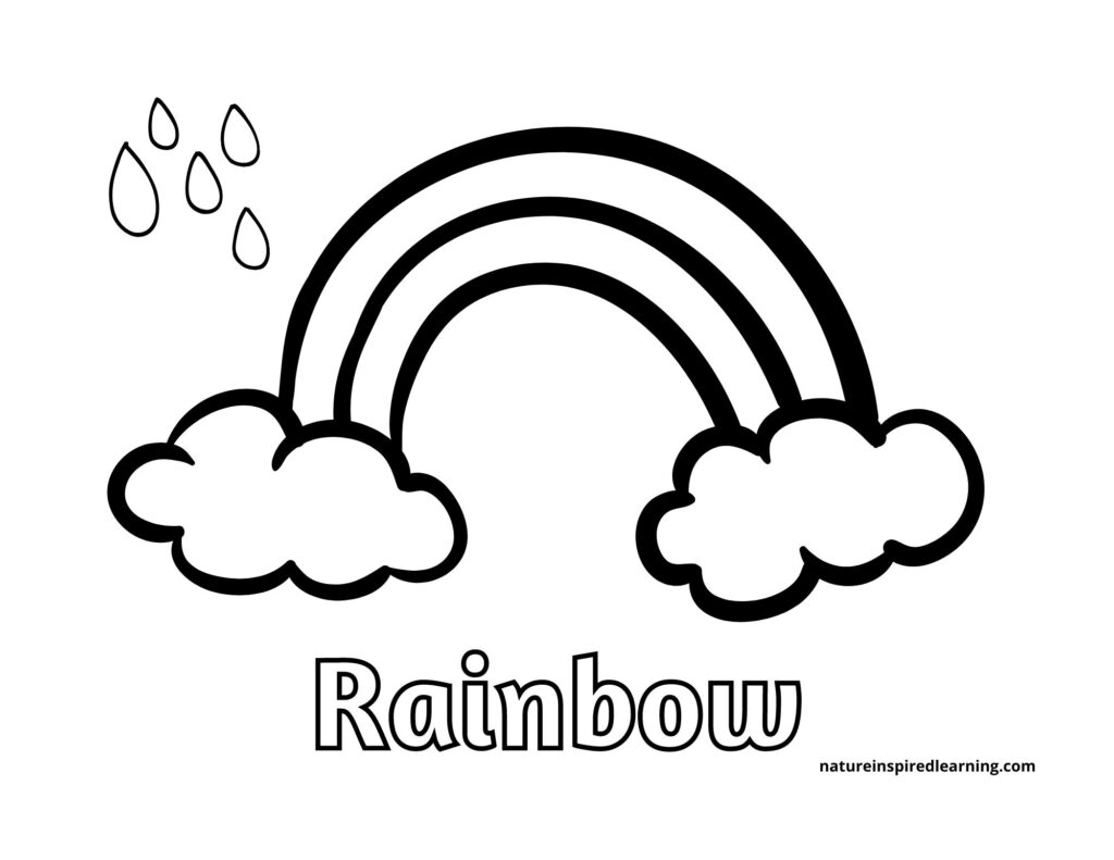 large rainbow with two clouds with water droplets