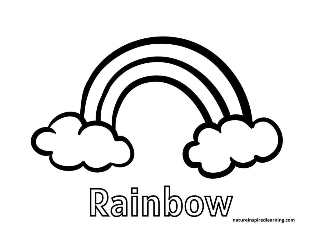 rainbow bubble letters with large rainbow between clouds coloring page