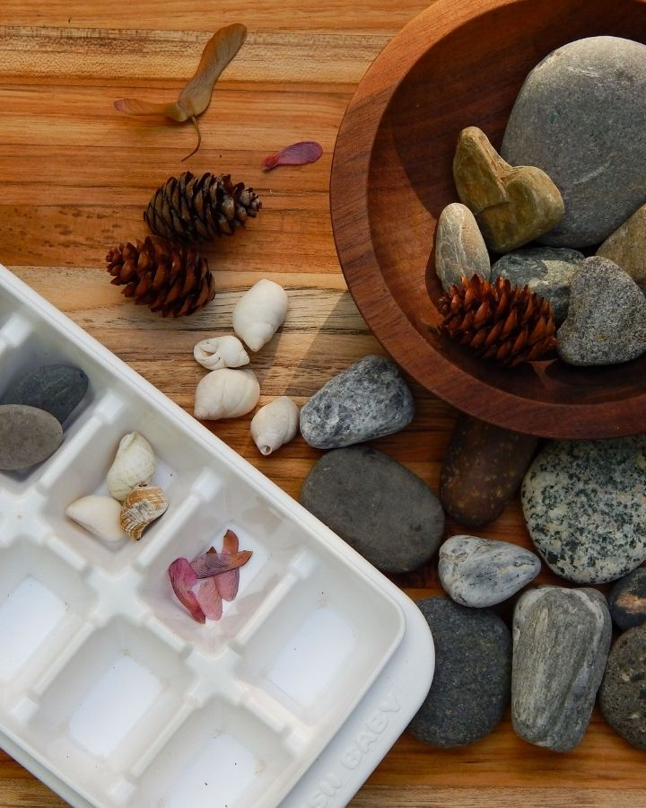 items collected for a preschool sorting activities on a wooden table in a wooden bowl and white ice cube tray