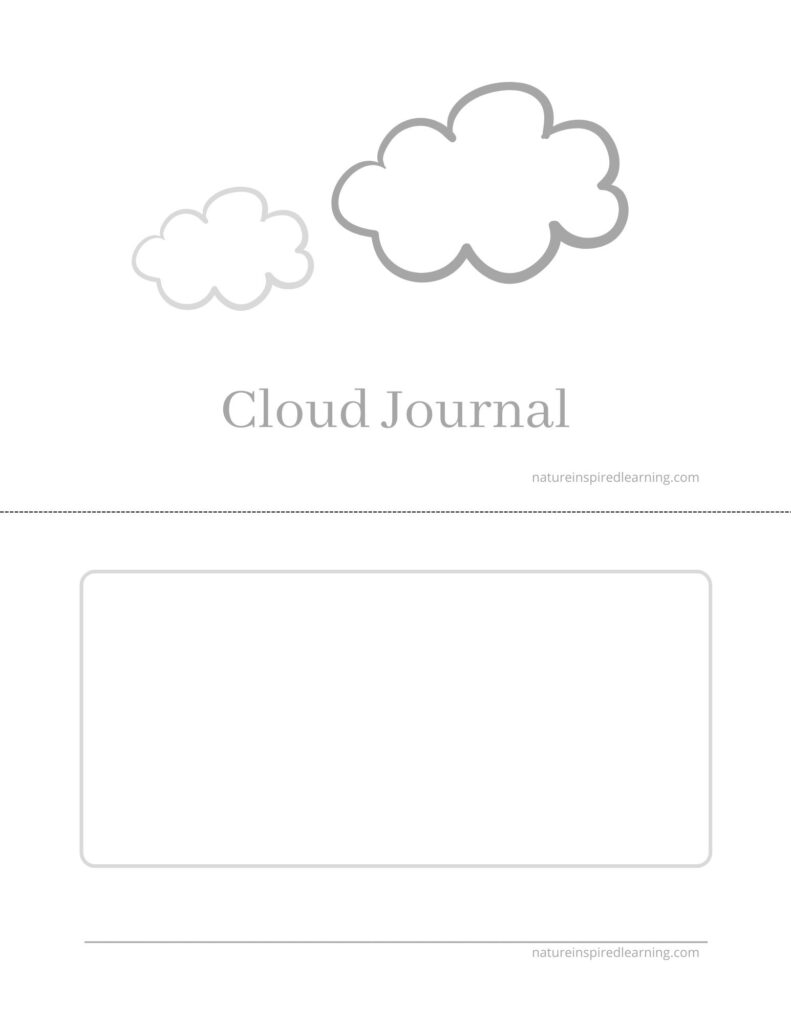 Cloud Journal Cover with space for observations printable