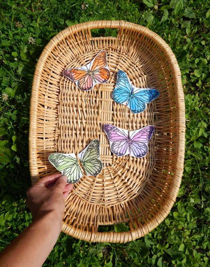 woven basket with sorting activity for preschoolers