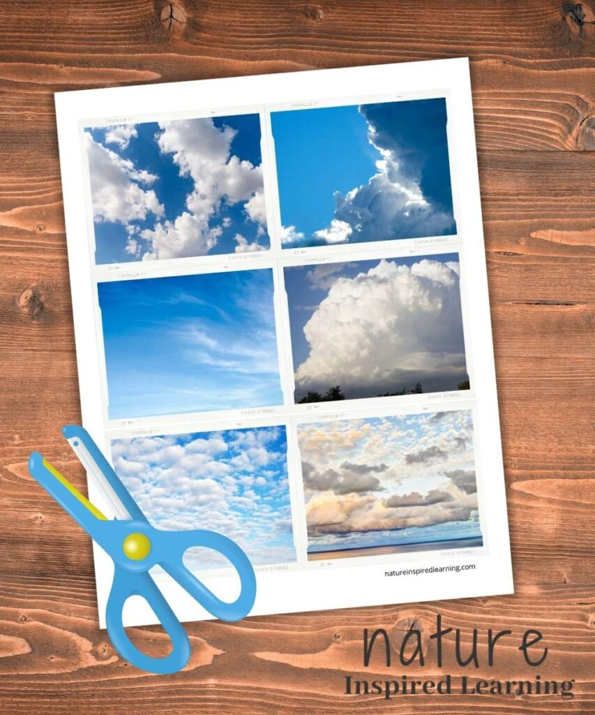 types of clouds sorting cards with blue kid scissors on the bottom corner of the printable on wooden background text nature inspired learning