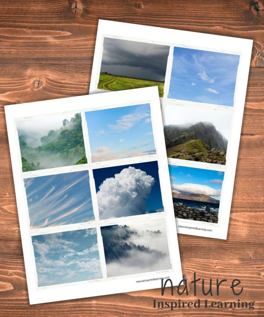 two printables with cloud sorting cards overlapping on a wooden background text nature inspired learning