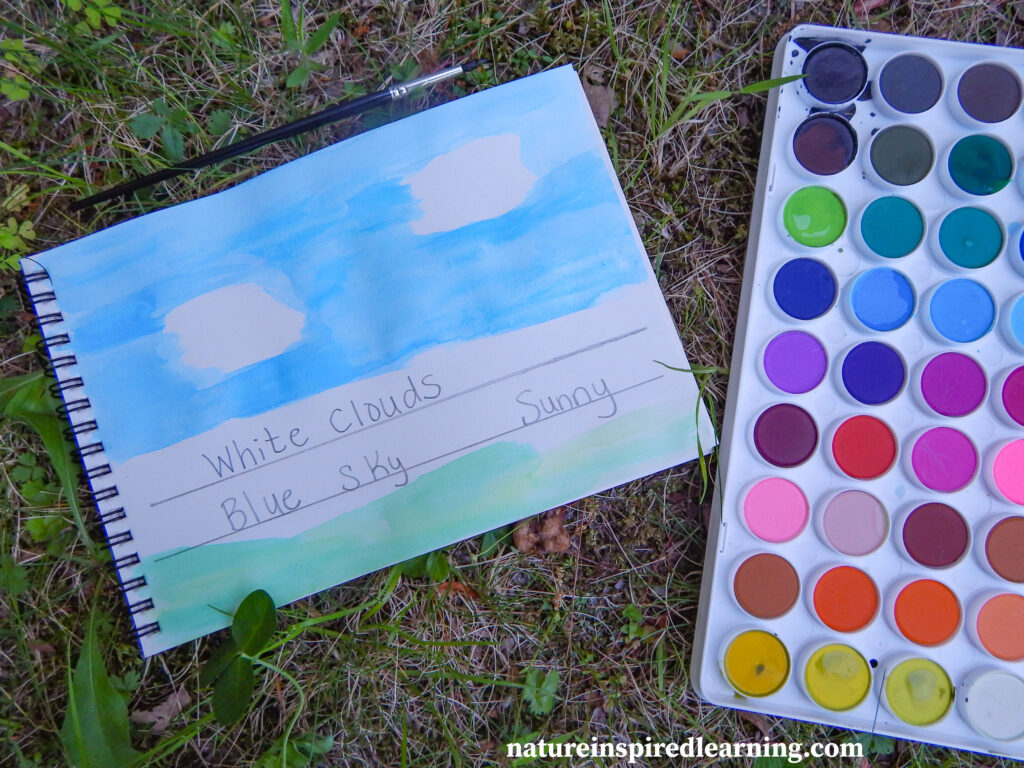 cloud journal entry with watercolor paints