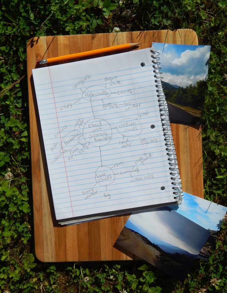 cloud unit summary on lined notbook paper with cloud photographs outside