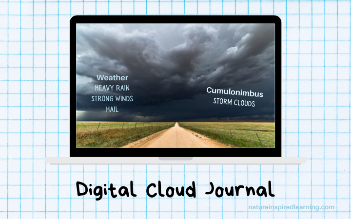 example of a digital cloud journal entry on a laptop cumulonimbus storm clouds with weather