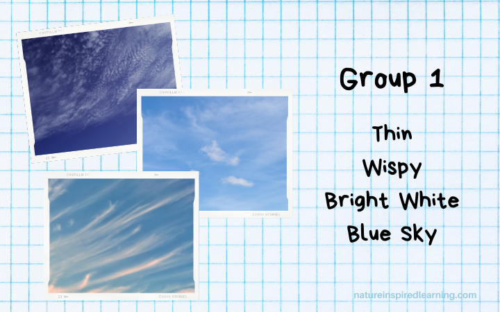 three photographs of clouds grouped together by common characteristics