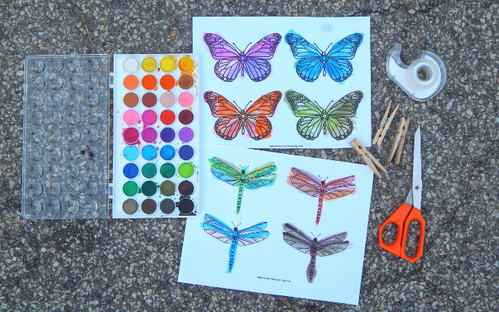 insect printables outside on pavement with art supplies