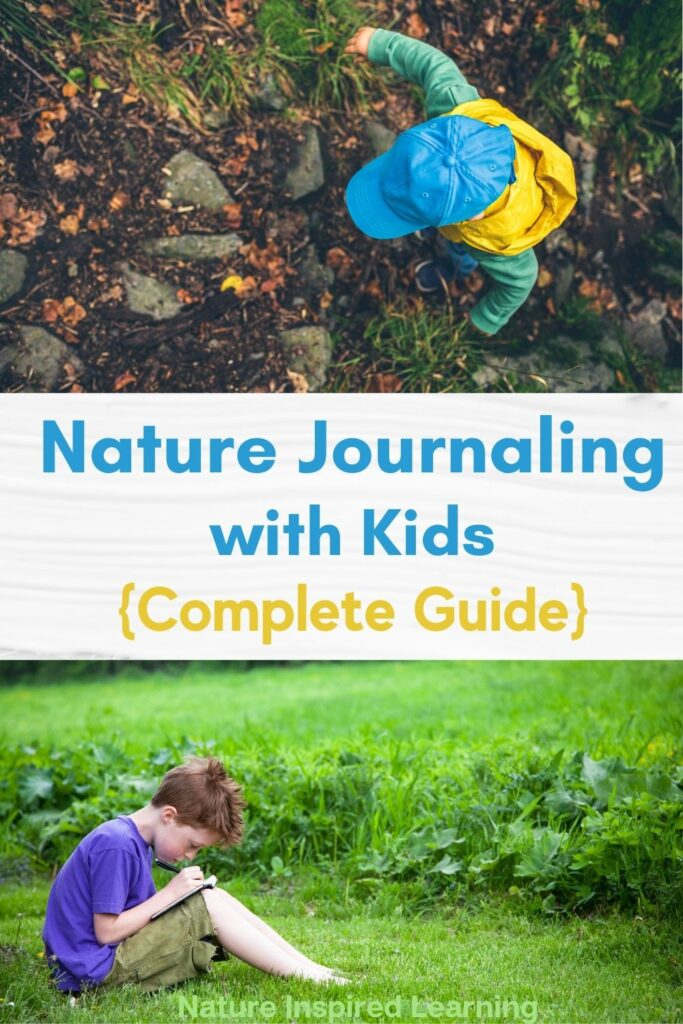 toddler wearing a blue hat, yellow vest, and green long sleeve walking in nature text nature journaling with kids (complete guide) young boy outside sitting down writing in a journal sitting on the grass