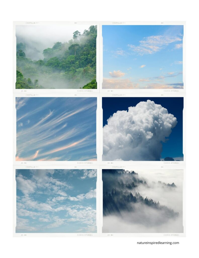 6 photographs of different types of clouds