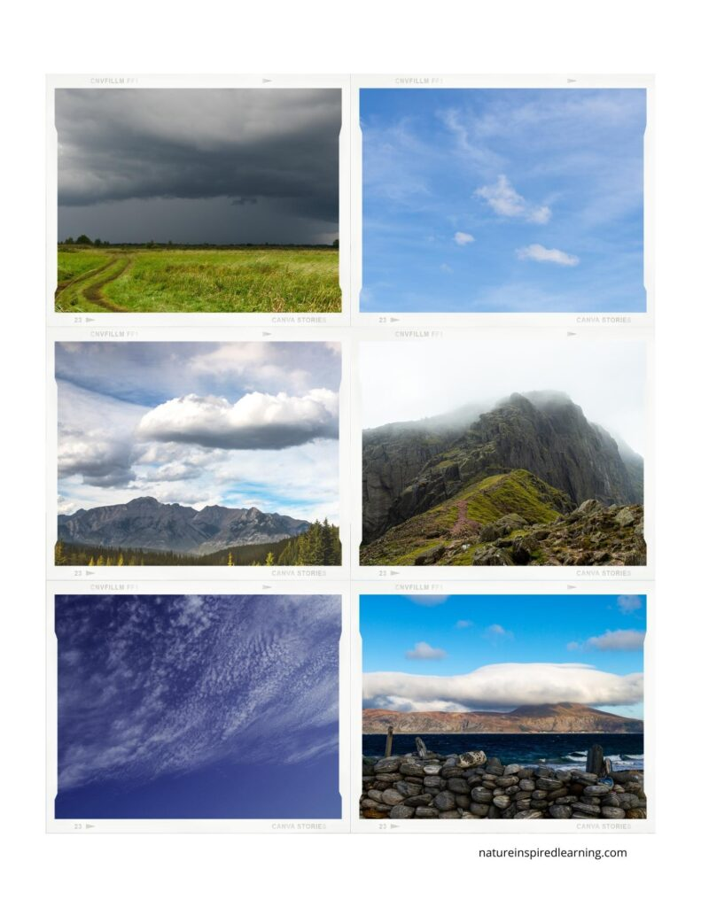different photographs of clouds