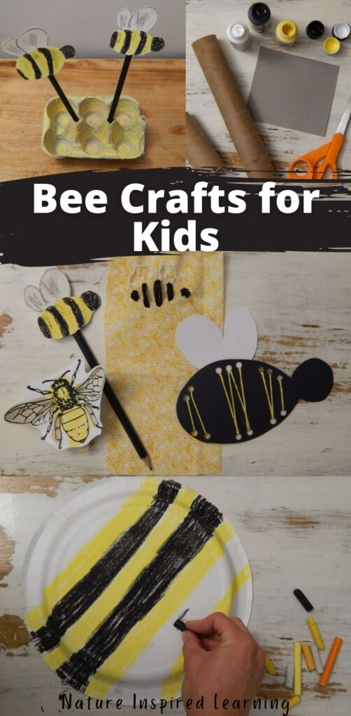 seven bee crafts collage with the text bee crafts for kids nature inspired learning