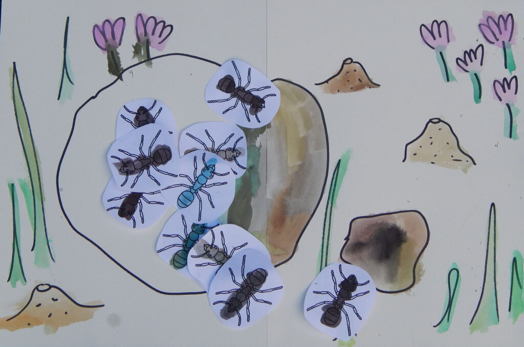cut out and colored in ant printables with a hand draw and painted scene with ant hills
