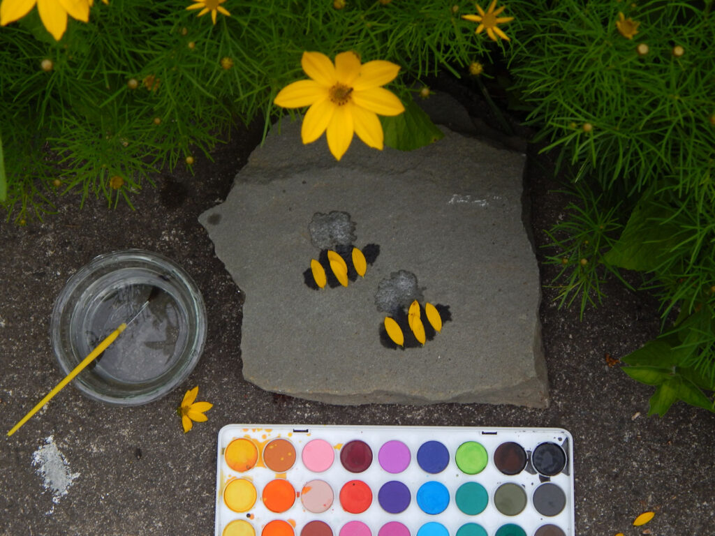 water color paint set used to paint cute little bumble bees on rock with yellow flower petals as the stripes