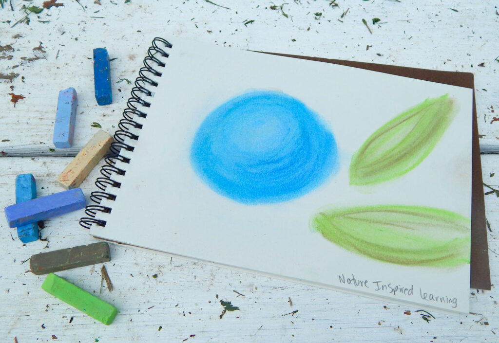 pastels next to a notebook with a drawing of a blueberry with two green leaves on a wooden surface with grass clippings