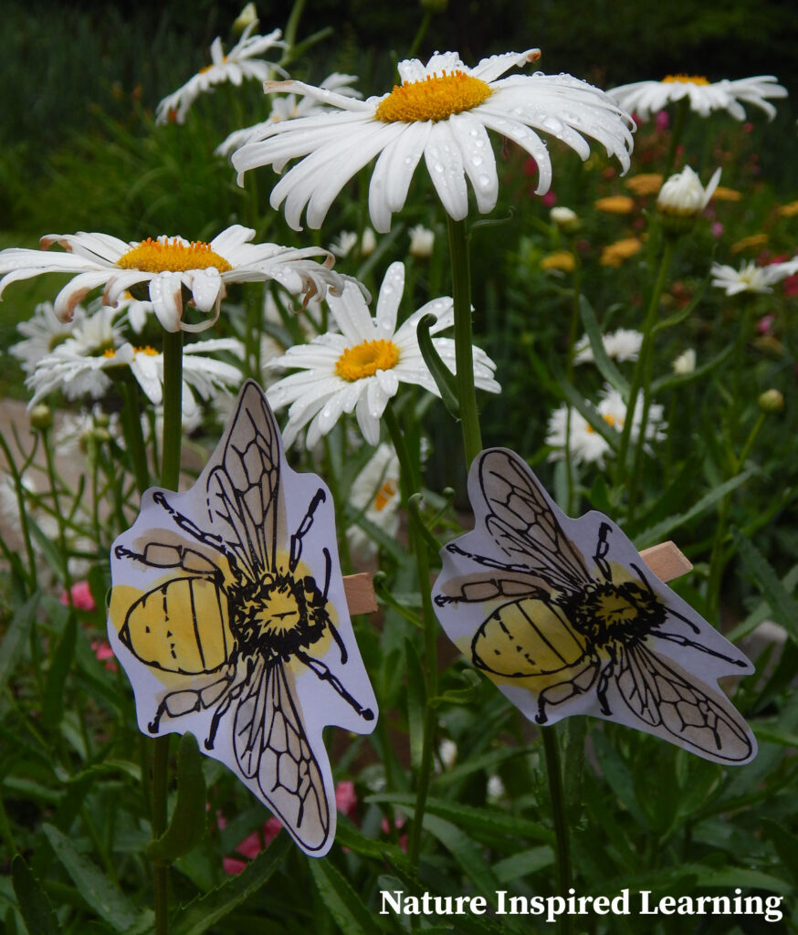 two bumble bee prinatables turned into an easy bee craft for kids bee clips attached to daisies in garden