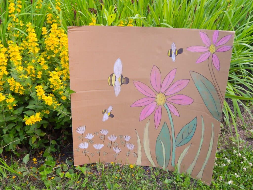 bumble bee garden craft painting in the garden