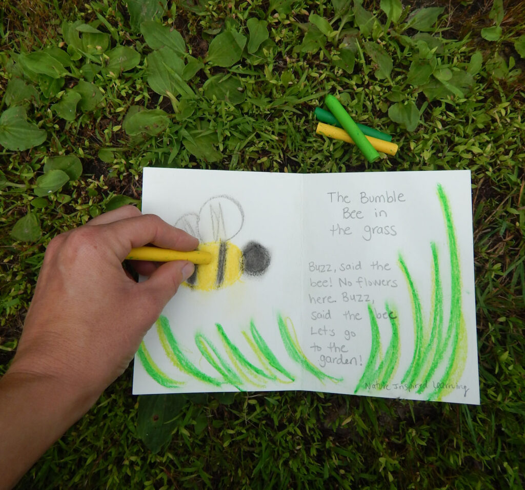 hand coloring with an oil pastel to create a bumble bee art work in a nature journal with bee poem