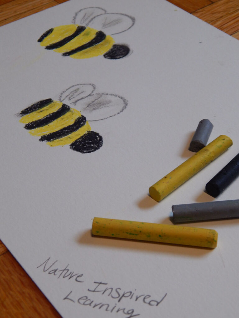 cute little bumble bees draw on paper using oil pastels