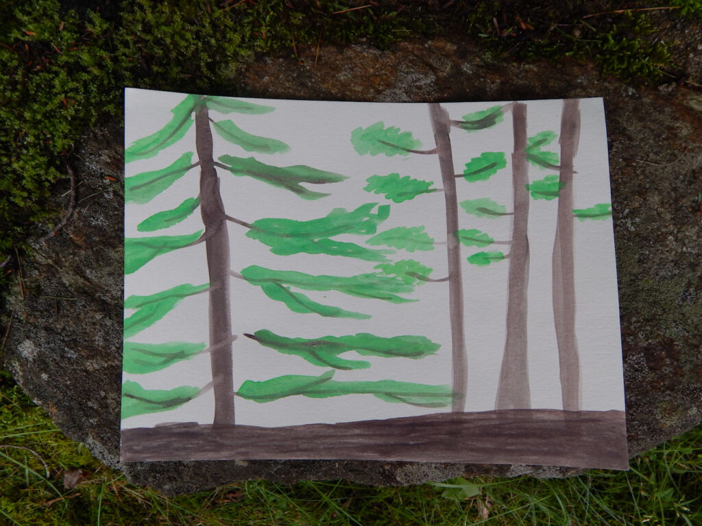 watercolor painting of four evergreen trees in a nature journal paper placed on a rock wall with green moss