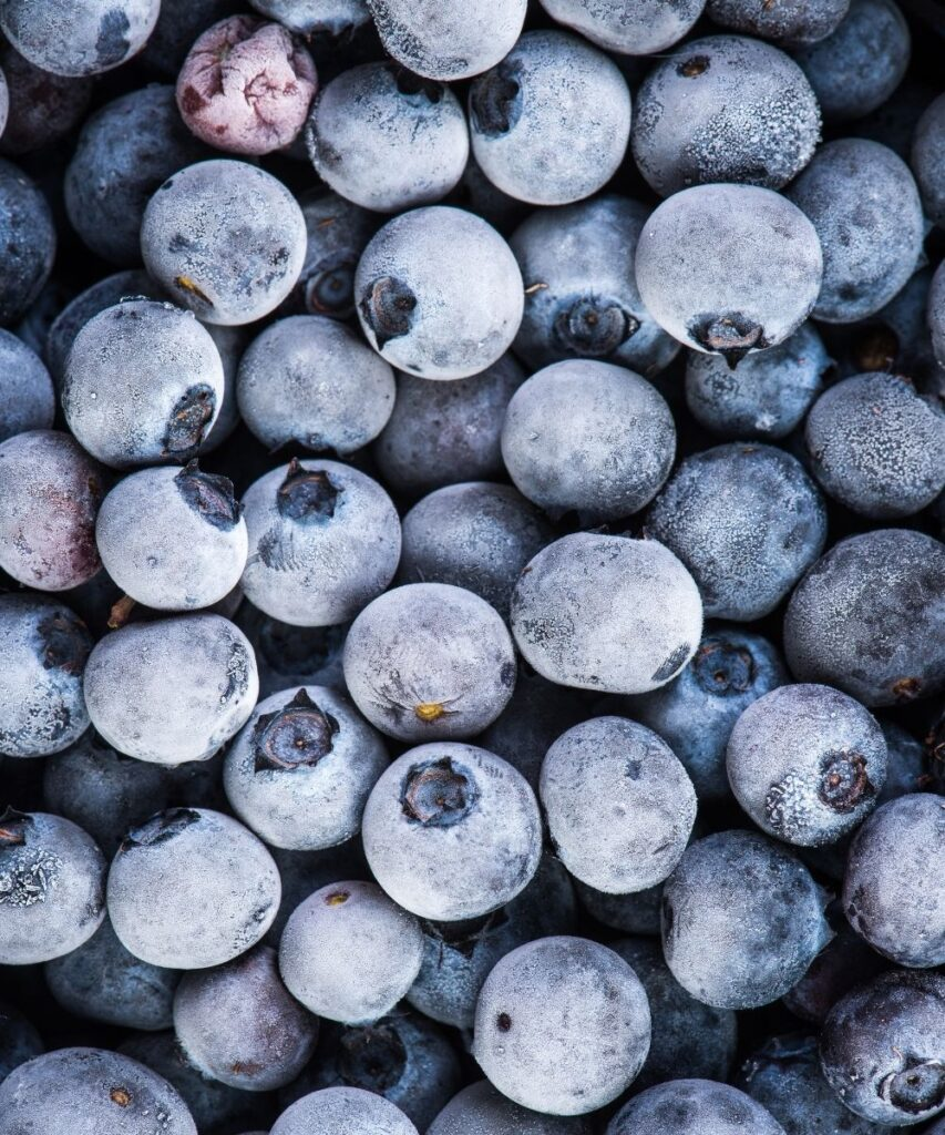 frozen blueberries of different sizes coated with ice crystals