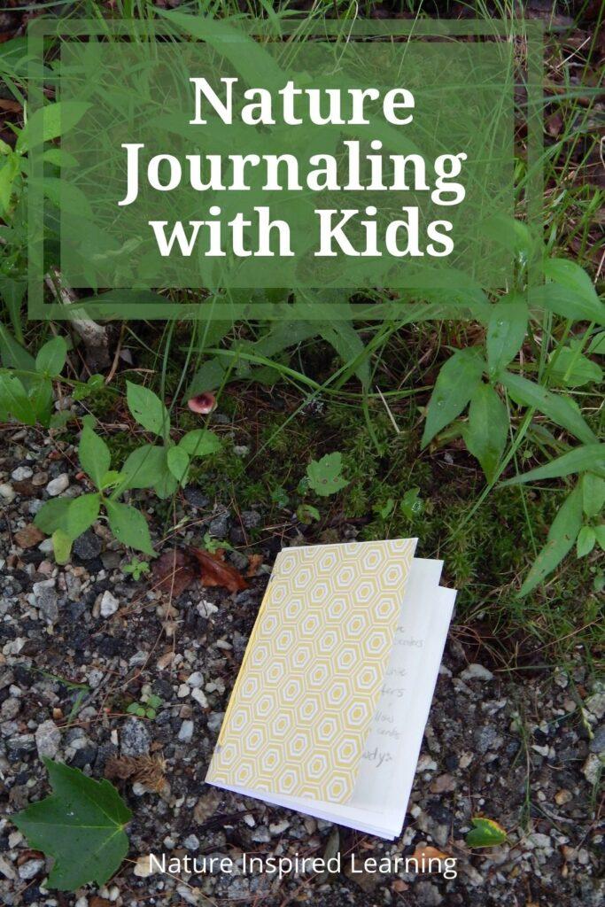 nature journal with kids text with yellow diy journal outside on the ground in nature
