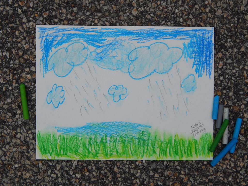 journal entry blue clouds, sky, rain, and a puddle with green grass drawn with oil pastels on watercolor paper outside on pavement with blue green and white oil pastels next to the paper