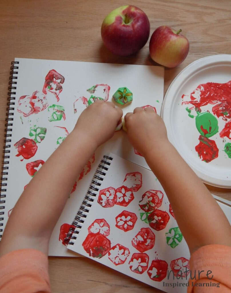 child wearing an orange shirt pressing apple cores onto a blank spiral bound notebook red and green acrylic paint on a paper plate two real apples on the table mini spiral bound notebook with apple stamps