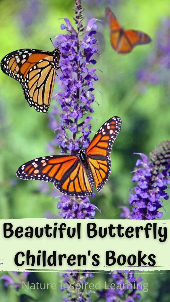 three monarch butterflies on a purple butterfly bush text beautiful butterfly children's books nature inspired learning