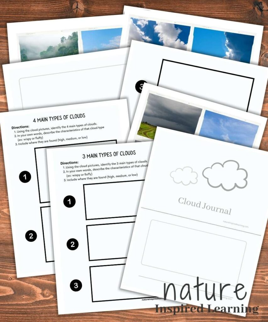 downloadable printable pack of types of clouds worksheets and printables overlapping each other with a wooden background nature inspired learning logo