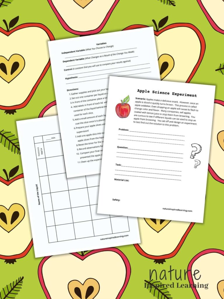 apple science experiment lab sheets overlapping on an apple slice clipart background