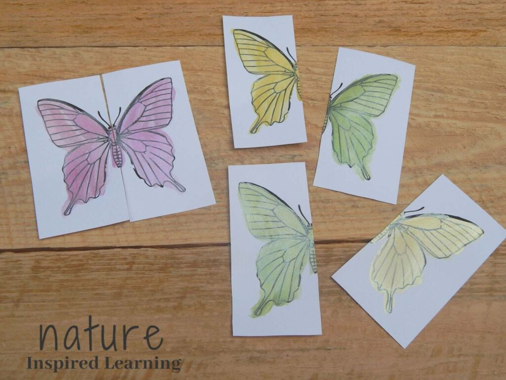 butterfly coloring page cut up into a paper based matching game matched up pink butterfly with unmatched halves of green and yellow butterflies on a wooden surface text nature inspired learning bottom corner