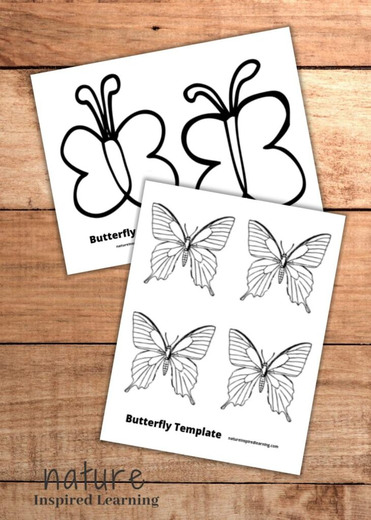 two free butterfly coloring pages overlapping on a wooden background