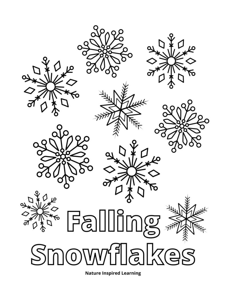 falling snowflakes coloring page with a collection of nine snowflake pictures arranged above the text falling snowflakes written in outline form