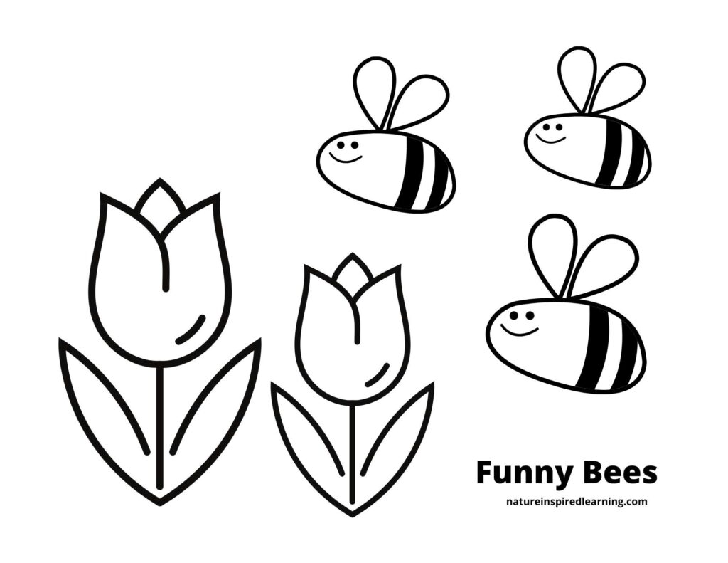 three smiling bees flying towards two tulip flowers on a coloring page text funny bees written at bottom