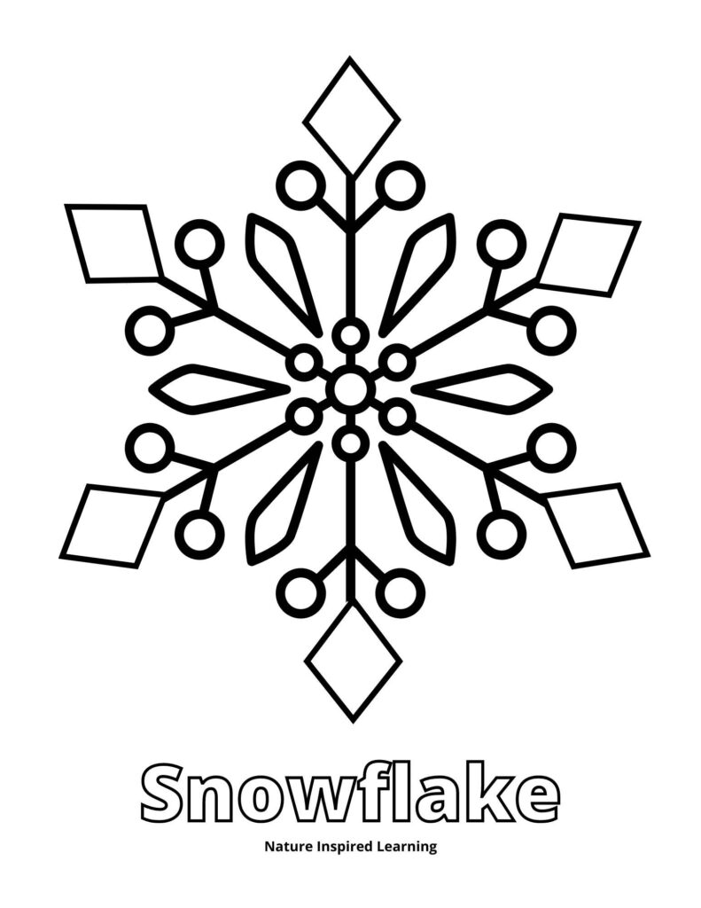 large snowflake template made out of geometric shapes and patterns with text Snowflake written below the snowflake image in outline form