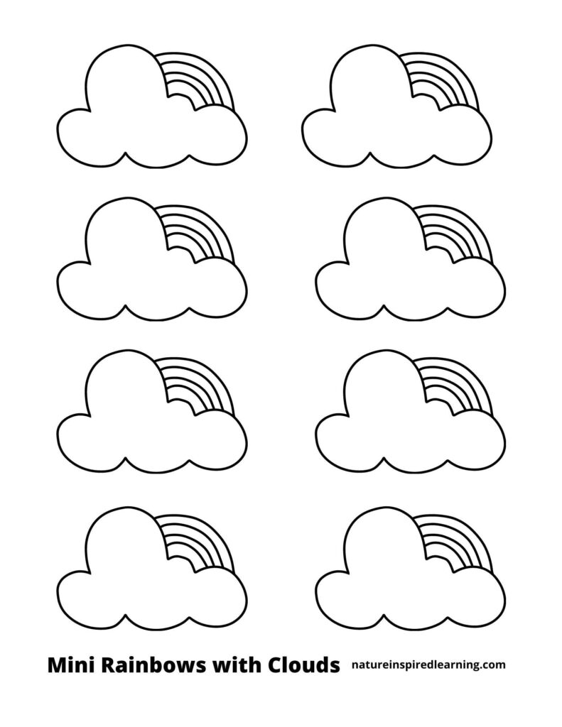 eight mini rainbows with clouds on a coloring page with text mini rainbows with clouds across bottom