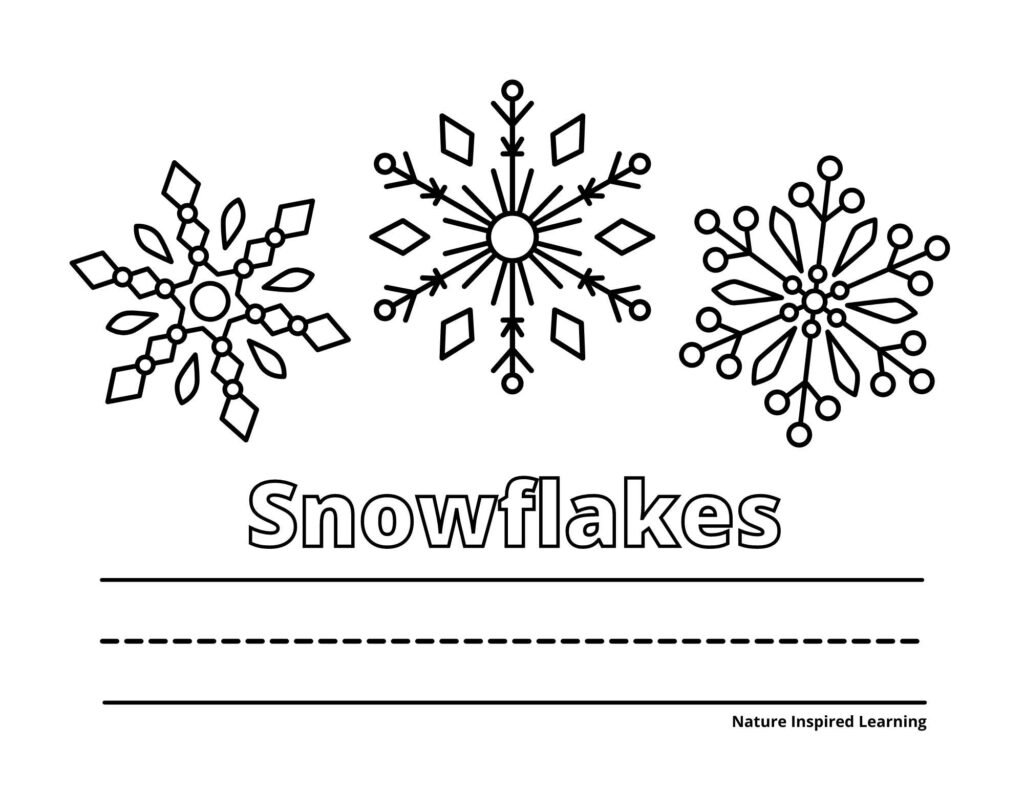 three different designs of snowflakes on a coloring page with Text Snowflakes written in outline form with lines to write the word