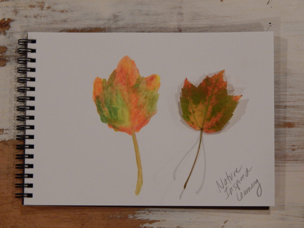 real fall maple leaf next to a painted maple leaf using watercolor paint in a blank spiral bound notebook on a wooden table